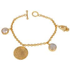 14K Gold Plated Brass Rainbow Moonstone Pearl Fashion Jewelry Chain Bracelets