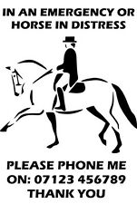 Emergency distress contact details phone sticker for horse lorry or trailer