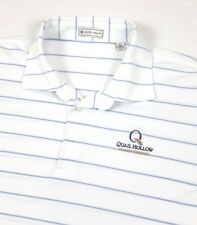 Peter Millar Mens Quail Hollow White Blue Stripe Pique Mesh Golf Polo Shirt XL