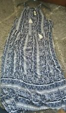 Ladies M & S Size16 REGULAR Ivory & Navy Floral Patterned Maxi Dress BNWT