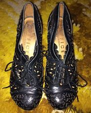 OFFICE - Vintage Style Rockabilly Pinup lace up Leather Shoes UK 5