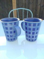 DENBY REFLEX BLUE MUGS. PAIR OF. 11&1/2CM TALL. COLLECTABLE
