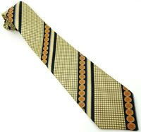 King Bell Cravates Vintage 1970s Tie Gold Orange Blue Stripe Necktie