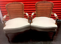 Ethan Allen Country French Chairs Pair Cane Back Occasional Chair