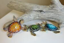 3 SMALL TURTLES 3 in. MULTI-COLOR GARDEN POND DECOR NEW RESIN nautical ocean sea