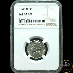 1943-D Jefferson Nickel~NGC MS64 6FS~Rare Full Steps Beauty~Only 21 this Grade~!