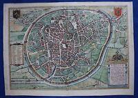 Antique city map BRUSSELS, BRUXELLES, Braun & Hogenberg, published c.1572