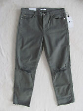 7 for All Mankind Olive Ripped Ankle Straight-leg Jeans 31