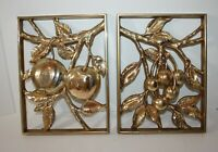 "Pair Gold Syroco Fruit Wall Plaques Pictures Mid Century 8.5"" x 11.75"""