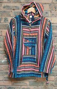 Hippie puncho Retro Color Baja Aztec red blue Pullover center pocket handmade