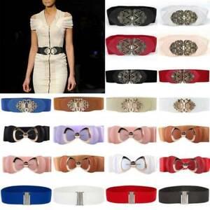 Ladies Wide Belt Thick Buckle Dresses Elastic Cinch Waist Belt Corset Waistband