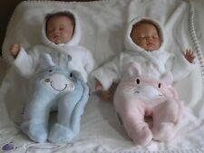 Premature Baby Fur snowsuit  White Boy Girl pink blue Tiny Baby 5 - 8 lb reborn