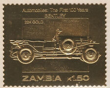 Zambia 5206 - 1987 Classic Cars - BENTLEY in 22k gold foi unmounted mint