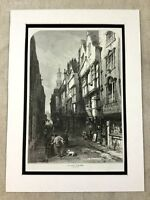 Antique Print Old London Wych Street Original 19th Century Architecture England