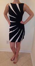 NWOT CACHE Size 2 Stunning Sleveless BLACK & WHITE Star Burst Shift Dress