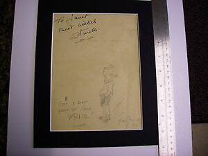 BERT THOMAS CARTOONIST ORIGINAL SIGNED SKETCH MOUNTED RARE AND COLLECTABLE