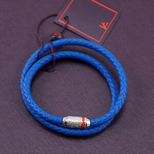 Isaia Bright Blue Woven Rubber Wrap Bracelet with Sterling Silver Clasp NWT