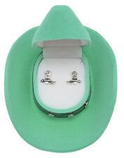 New - Western Cowboy Boots Earrings - LIGHT GREEN Cowboy Hat Gift Box