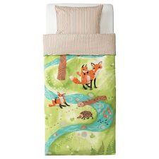 IKEA VANDRING RAV Woodland Fox Owl Twin Bed Duvet Cover 2 PC Striped Forest Anim
