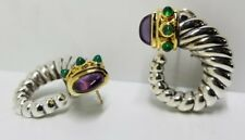 David Yurman 14K SS  Classic Cable Earrings Amethyst Green Onyx Pierced Omega