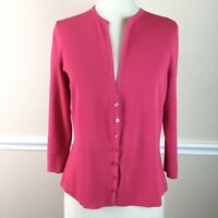 Talbots Womens Cardigan Sweater V Neck Stretch Ribbed Button Front Size L