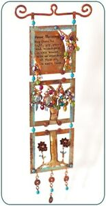Home Blessing Mobile Wall Hanging Tree of Life Flower Handmade Copper Fine Beads