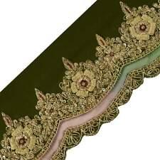 Vintage Sari Border Indian Craft Trim Hand Beaded Zardozi Green Lace Ribbon