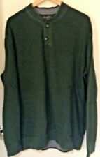 New listing Eddie Bauer Men's Long Sleeve 1/4 Button Mock Neck Green Sweater Size XL Tall