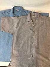Chereskin Lot of 2 Mens Medium Short Sleeve Button Down 1Baby Blue 1Grey Shirt.
