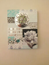 PUNCH STUDIO FLOWERS  JEWELED POCKET NOTE PAD MAGNETIC CLOSURE SILVER FOIL