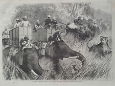 TIGER HUNT IN INDIA FROM ELEPHANTS HARPER'S WEEKLY 1876