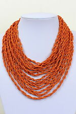 Orange Coral Colour Multi Layered Necklace Bib Style Choker Collar Necklace DB25