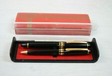 Set of 2 Vintage Collectible Pens Fountain and Roller Pen Boxed Black Gold