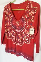 Lucky Brand New W TopEthnic print Quarter Sleeve 100% cotton Burgundy color-S