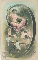 Number 9 Hand Colored Postcard – udb - 1904