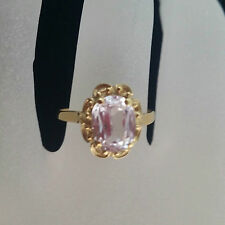 Vintage Rare 18K Solid Gold Solitaire Pink Kunzite Handmade Lady's Ring Sz,6,5