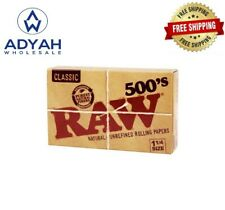 New RAW 500's 1 1/4 Size Cigarette Rolling Papers 500 LEAVES PER PACK FAST SHIP