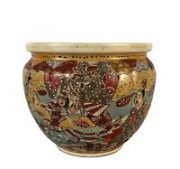 Antique Japanese Meiji Era Large Satsuma Moriage Planter Pot Pottery Late 1800's