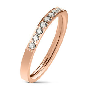 Ring rosegold 8 Kristalle Edelstahl Verlobungsring Trauring Damen Schmuck
