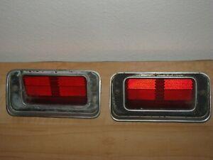 1970-73 Lincoln Continental Town Car Rear Bumper Side Marker Lights & Bezels OEM