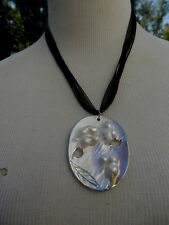 ABALONE MOTHER of PEARL PENDANT MULTIPLE CORD & RIBBON STRAPS NECKLACE