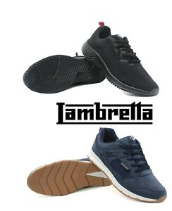 MENS LAMBRETTA WALKING RUNNING SPORTS GYM EXERCISE SMART LACE UP TRAINERS SHOES
