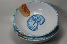 Tommy Bahama 4 Blue White Nautical Shell Melamine Bowls Cereal Salad Soup NWT