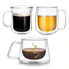 Fashion Double Wall Design Glass Coffee Tea Cup Heat resistant Clear Glass Mug 3
