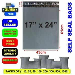 """17 x 24"""" Grey Mailing Bags Strong Parcel Postage Plastic Post Poly Self Seal Bag"""
