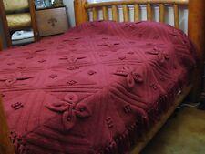 Vintage Acrylic Aran Knit Knitted Crochet Blanket Afghan Rose Bedspread  83x80