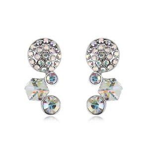 Swarovski® Crystals Stone Silver Stud Earrings Womens Ladies JewelleryGift