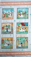"""24"""" Christmas Fabric Panel - Red Rooster Warm Wishes Snowman Blocks Blue"""