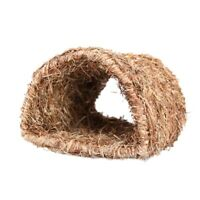 Grass House Tunnel Hutch Woven Hut for Laying or Sleeping Edible Chew Home  J6B7