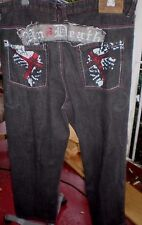 Raw Blue 42x34  Classic Urban Denim Jeans ~ Embellished/Embroidered